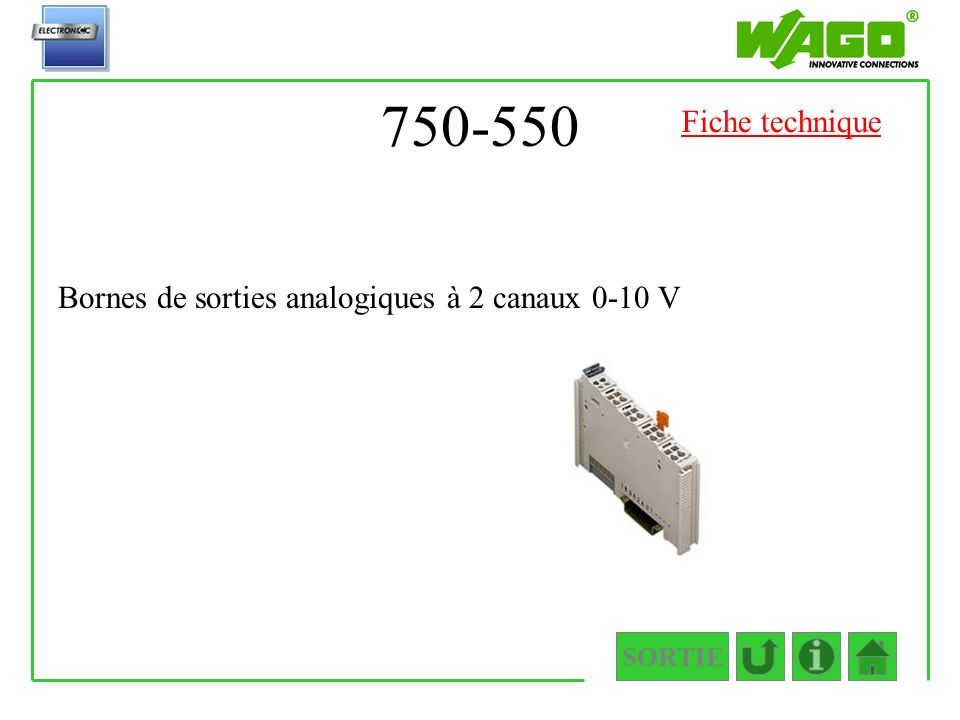 750-550 Fiche technique Bornes de sorties analogiques à 2 canaux 0-10 V SORTIE