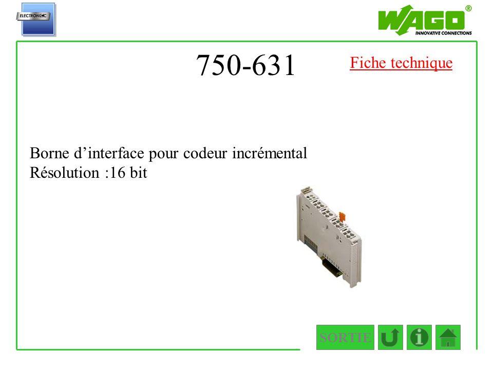 750-631 Fiche technique Borne d'interface pour codeur incrémental Résolution :16 bit SORTIE