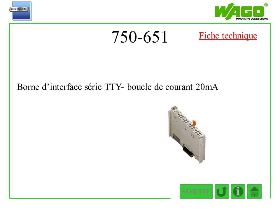 750-651 Fiche technique Borne d'interface série TTY- boucle de courant 20mA SORTIE
