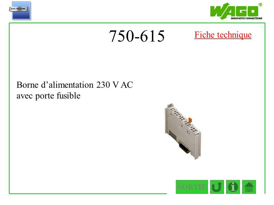 750-615 Fiche technique Borne d'alimentation 230 V AC avec porte fusible SORTIE
