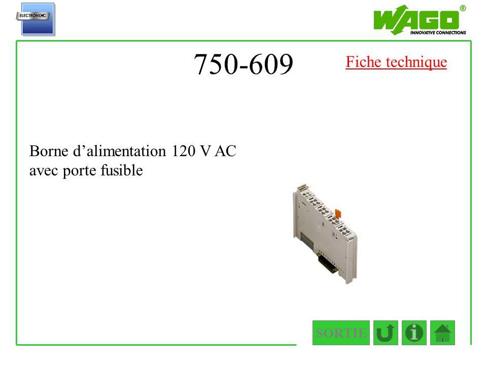 750-609 Fiche technique Borne d'alimentation 120 V AC avec porte fusible SORTIE