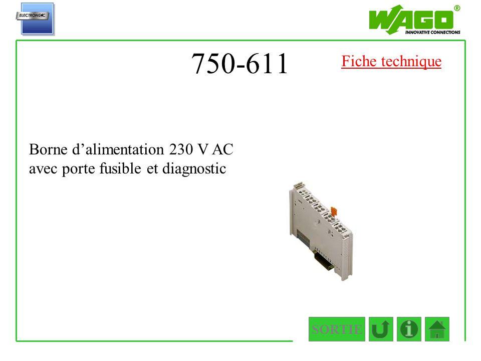 750-611 Fiche technique Borne d'alimentation 230 V AC avec porte fusible et diagnostic SORTIE
