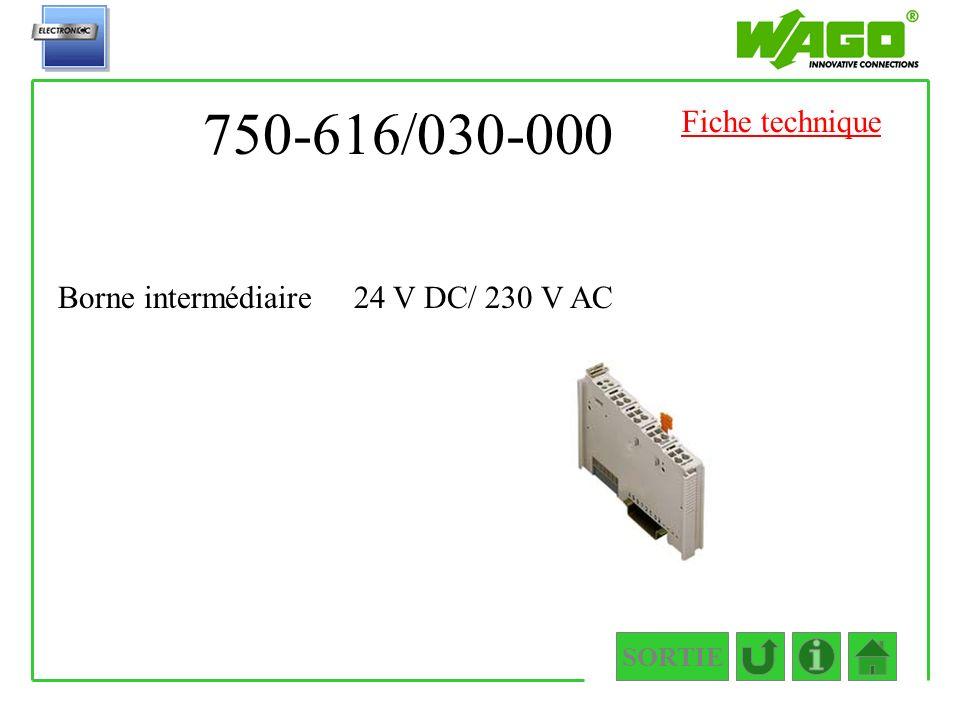 750-616/030-000 Fiche technique Borne intermédiaire 24 V DC/ 230 V AC