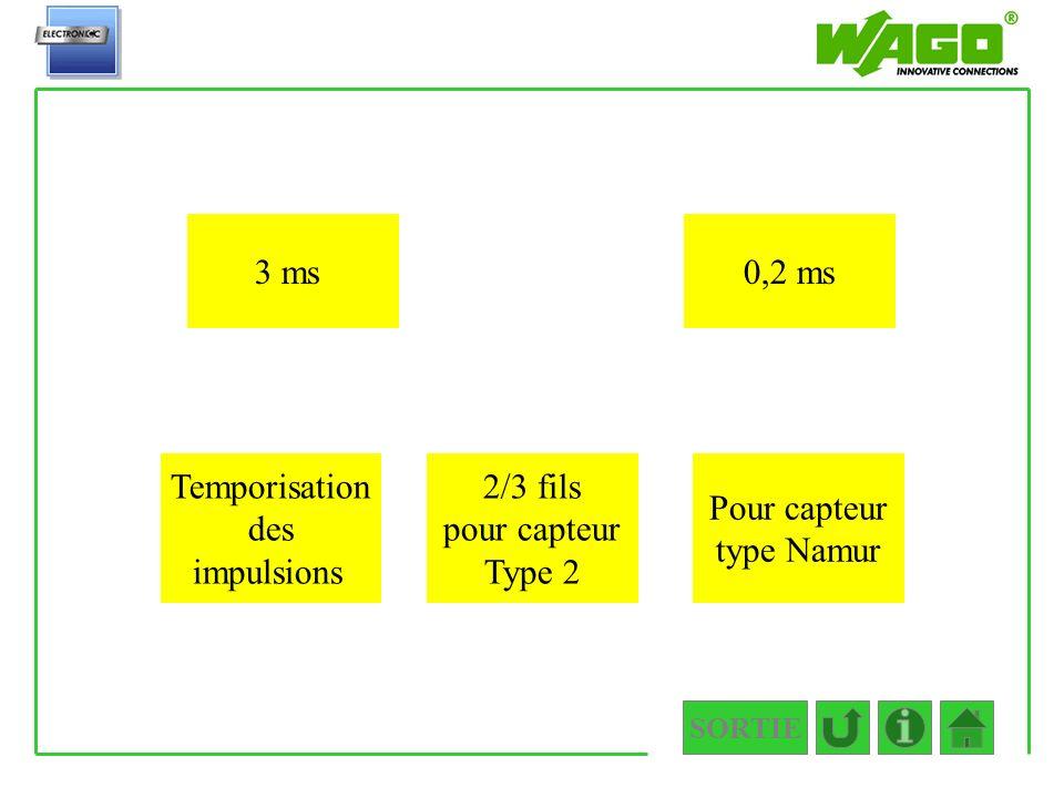 Temporisation des impulsions 2/3 fils pour capteur Type 2