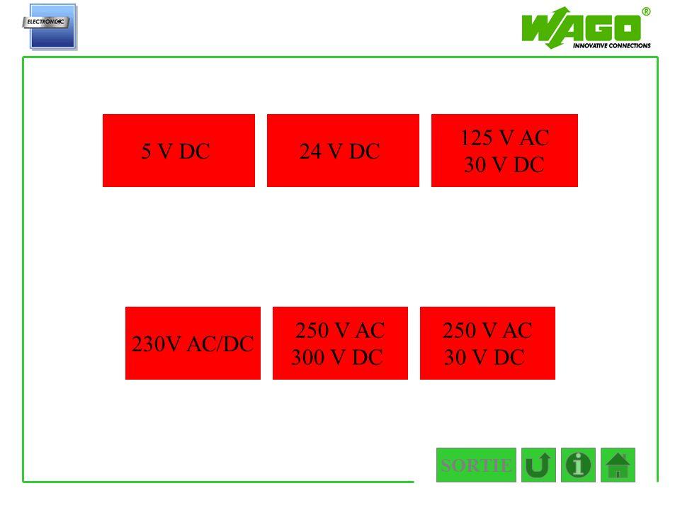 5 V DC 24 V DC 125 V AC 30 V DC 230V AC/DC 250 V AC 300 V DC