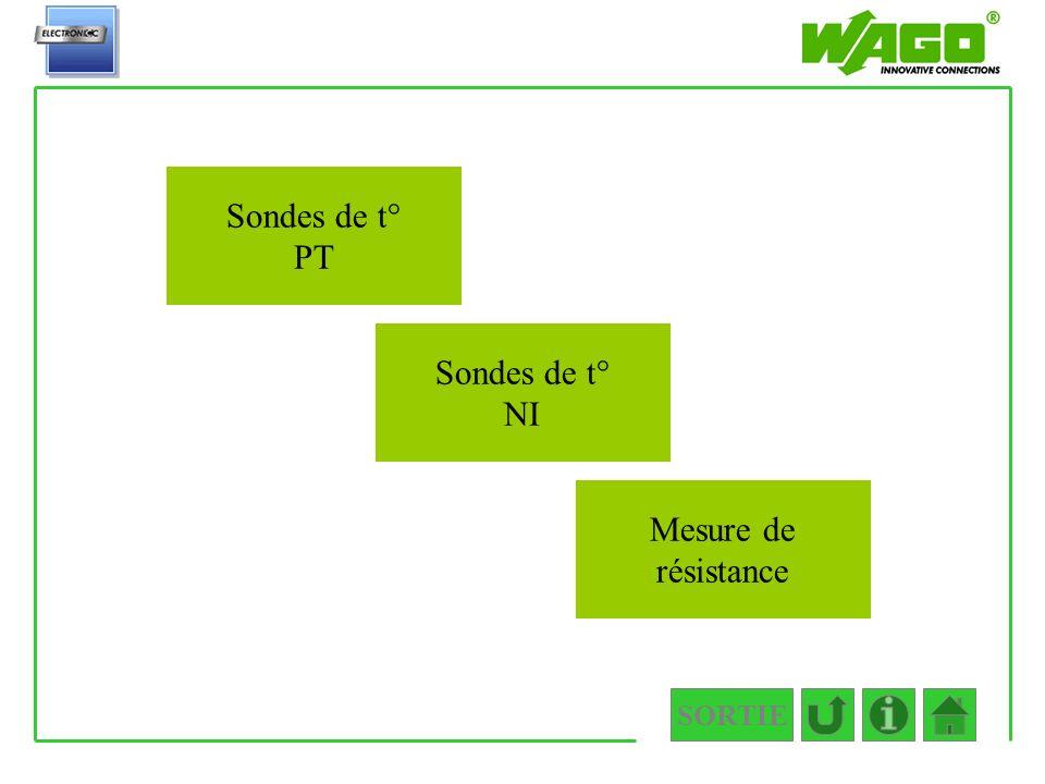 4.3.3 Sondes de t° PT Sondes de t° NI Mesure de résistance SORTIE