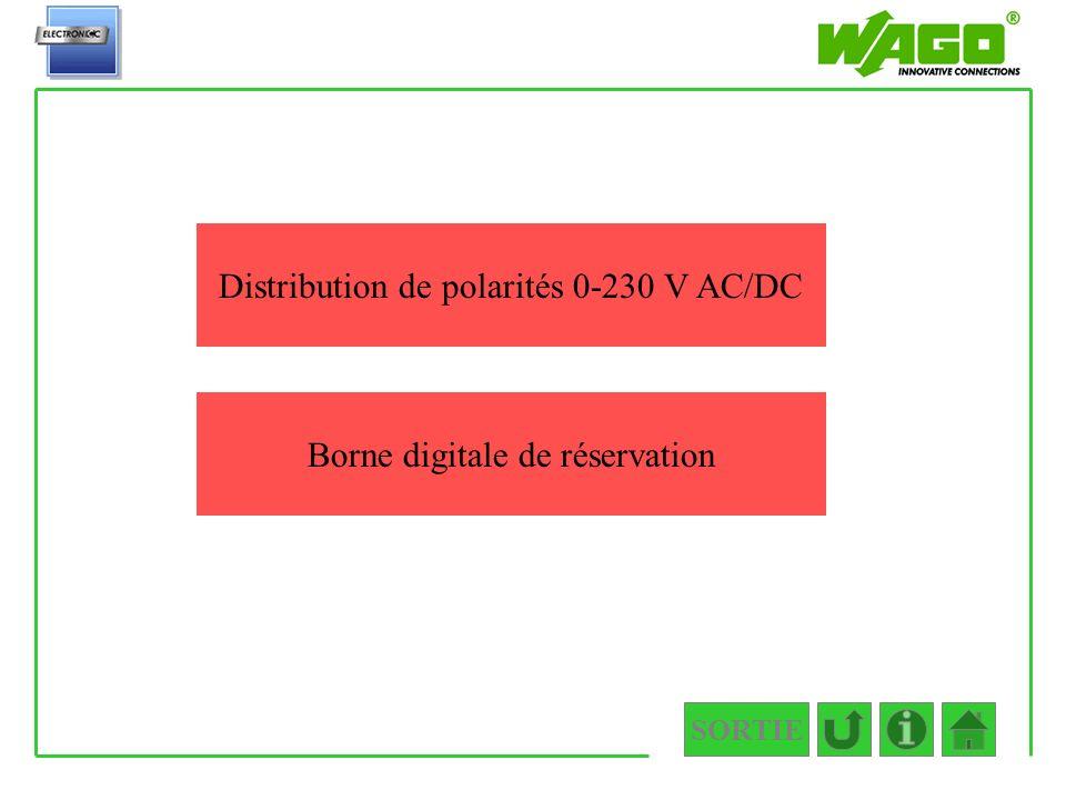 Distribution de polarités 0-230 V AC/DC