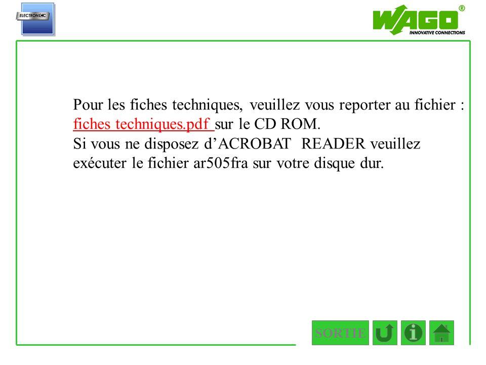 Fiches techniques Pour les fiches techniques, veuillez vous reporter au fichier : fiches techniques.pdf sur le CD ROM.