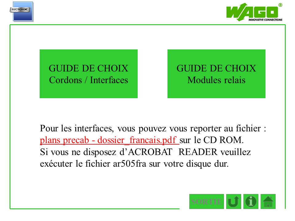 GUIDE DE CHOIX Cordons / Interfaces GUIDE DE CHOIX Modules relais