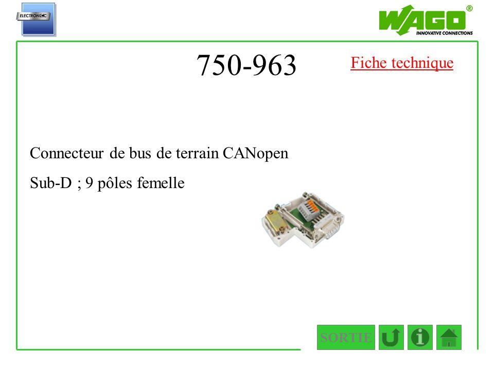 750-963 Fiche technique Connecteur de bus de terrain CANopen