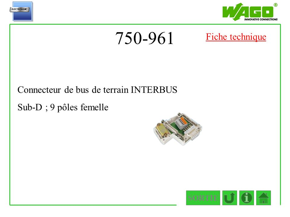 750-961 Fiche technique Connecteur de bus de terrain INTERBUS