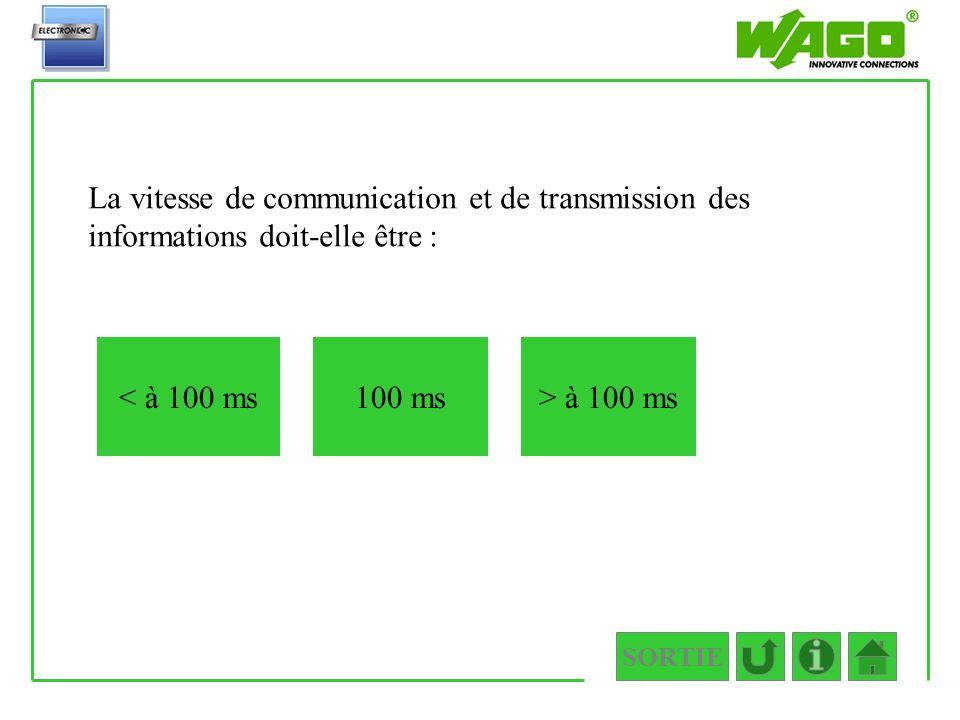 1.1.1 La vitesse de communication et de transmission des informations doit-elle être : < à 100 ms.