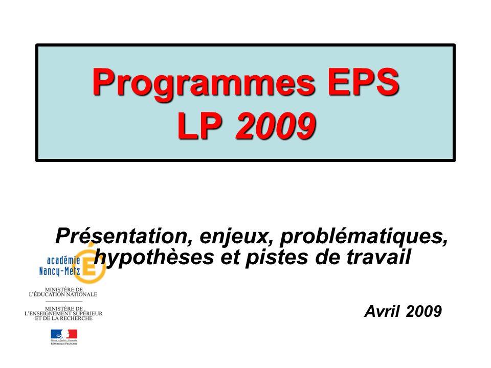 Programmes EPS LP 2009 Présentation, enjeux, problématiques, hypothèses et pistes de travail. Avril 2009.