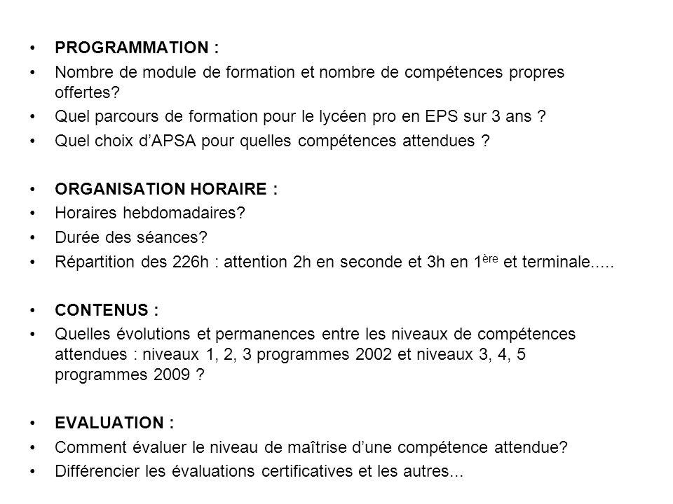 PROGRAMMATION : Nombre de module de formation et nombre de compétences propres offertes