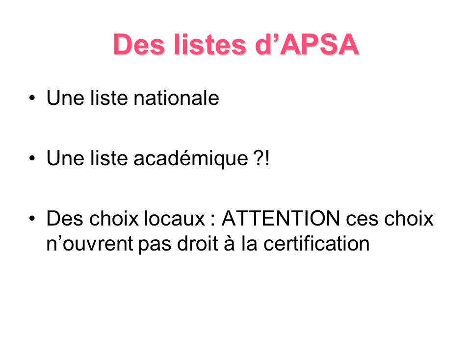 Des listes d'APSA Une liste nationale Une liste académique !
