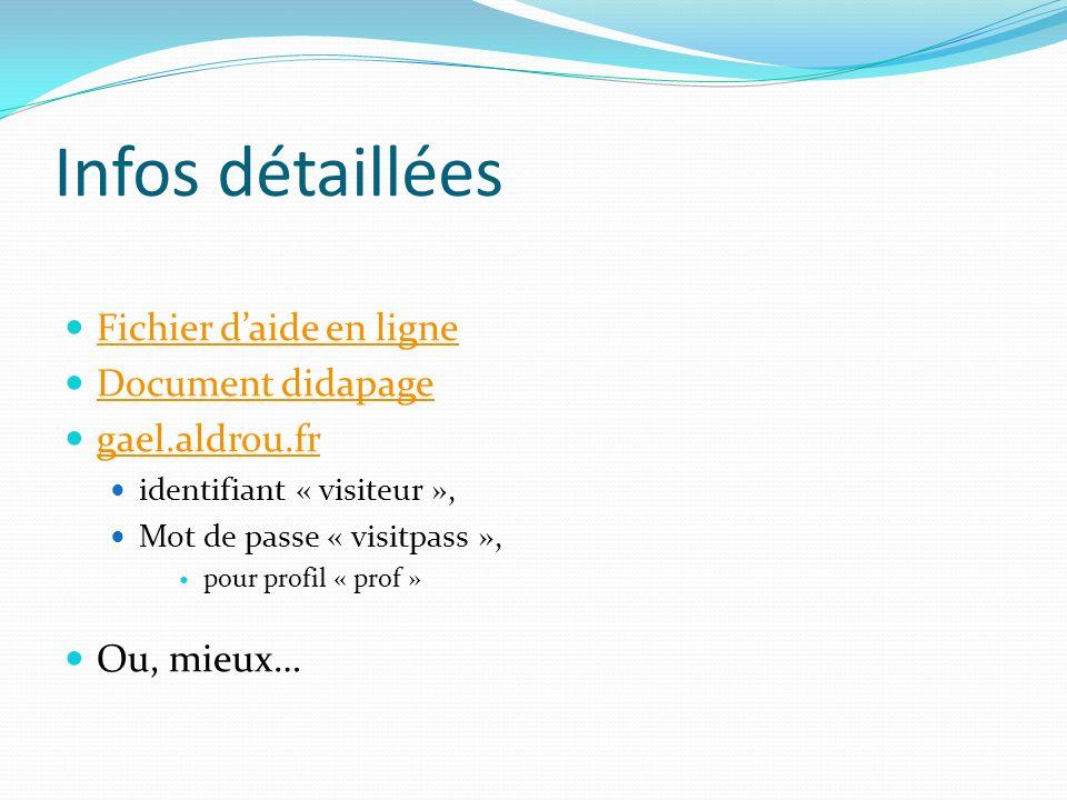 Infos détaillées Fichier d'aide en ligne Document didapage