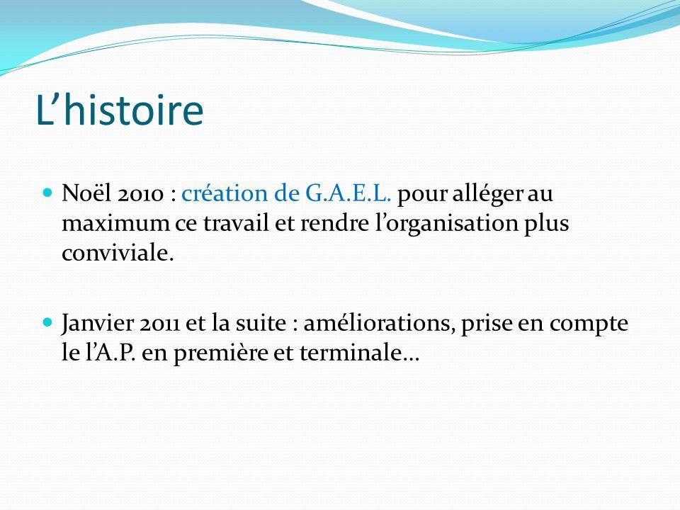 L'histoire Noël 2010 : création de G.A.E.L. pour alléger au maximum ce travail et rendre l'organisation plus conviviale.