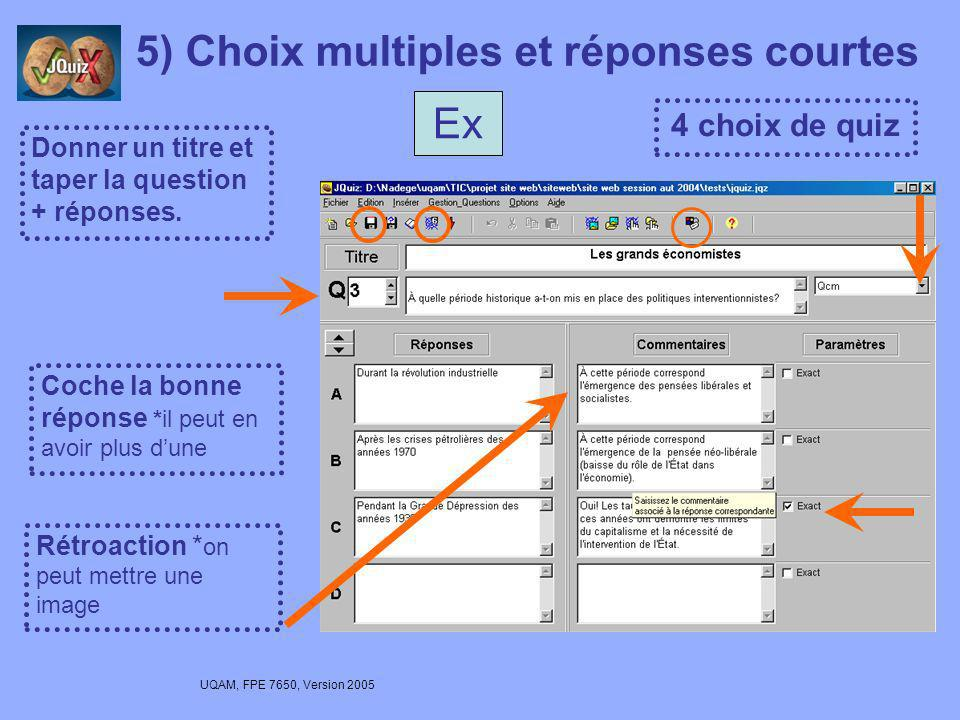 5) Choix multiples et réponses courtes