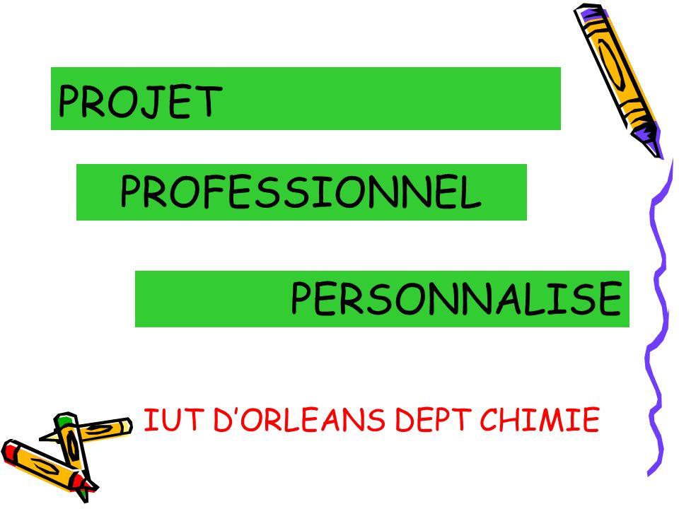 PROJET PROFESSIONNEL PERSONNALISE IUT D'ORLEANS DEPT CHIMIE