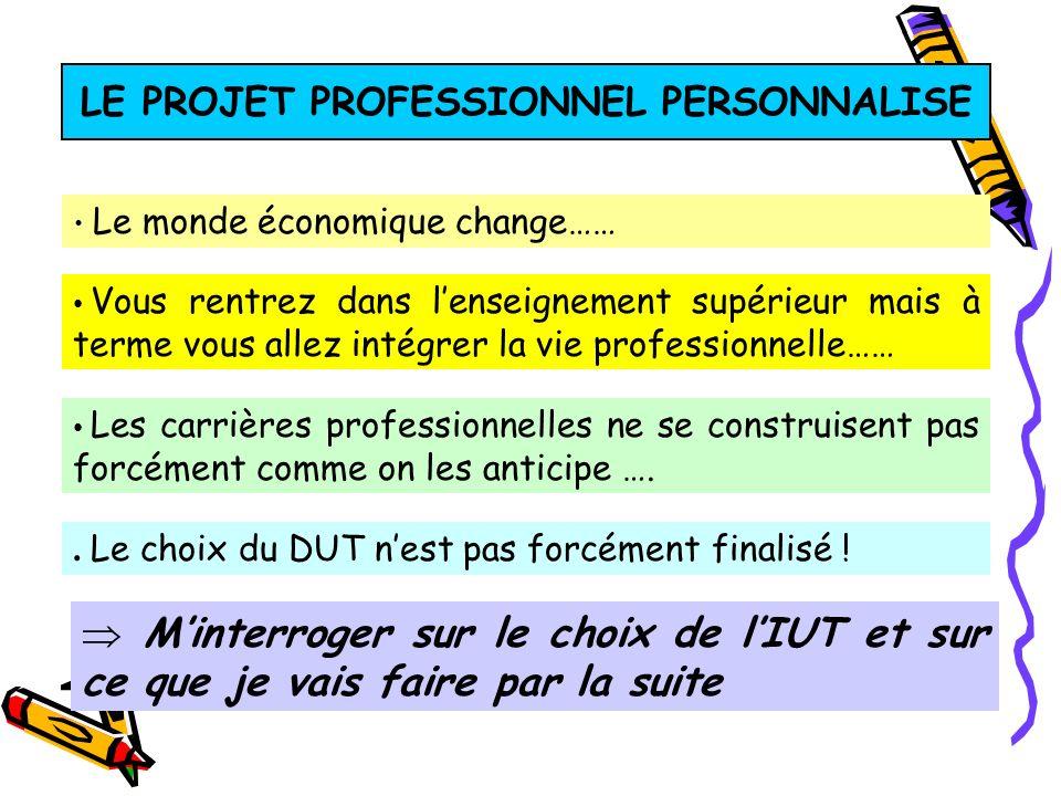 LE PROJET PROFESSIONNEL PERSONNALISE