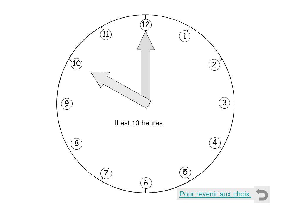 1 2 11 8 7 10 9 4 5 6 3 12 Il est 10 heures. Pour revenir aux choix.