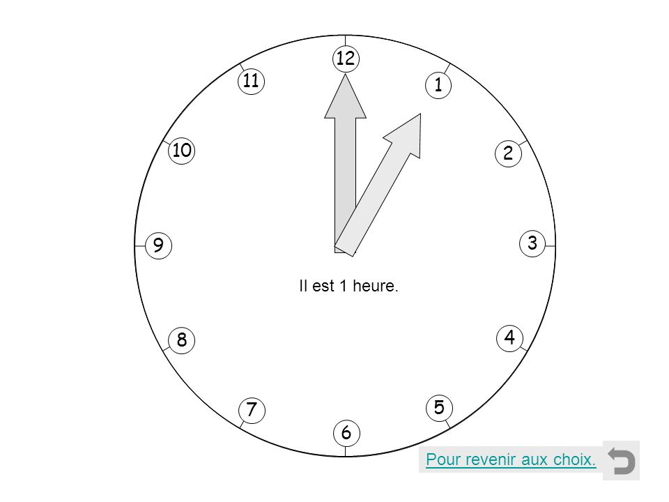 1 2 11 8 7 10 9 4 5 6 3 12 Il est 1 heure. Pour revenir aux choix.