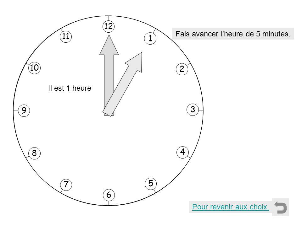 12 11 1 10 2 3 9 4 8 7 5 6 Fais avancer l'heure de 5 minutes.