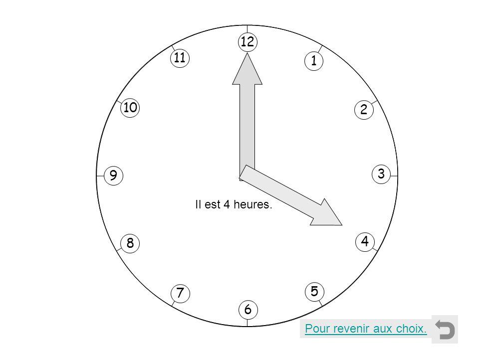 1 2 11 8 7 10 9 4 5 6 3 12 Il est 4 heures. Pour revenir aux choix.
