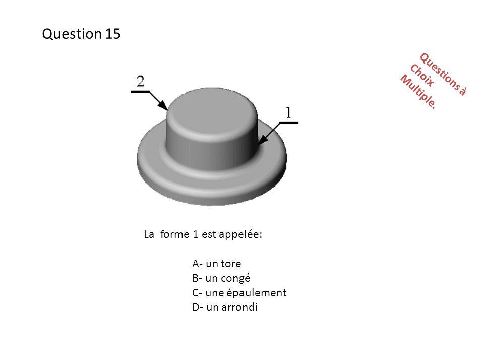 Question 15 Questions à Choix Multiple. La forme 1 est appelée: