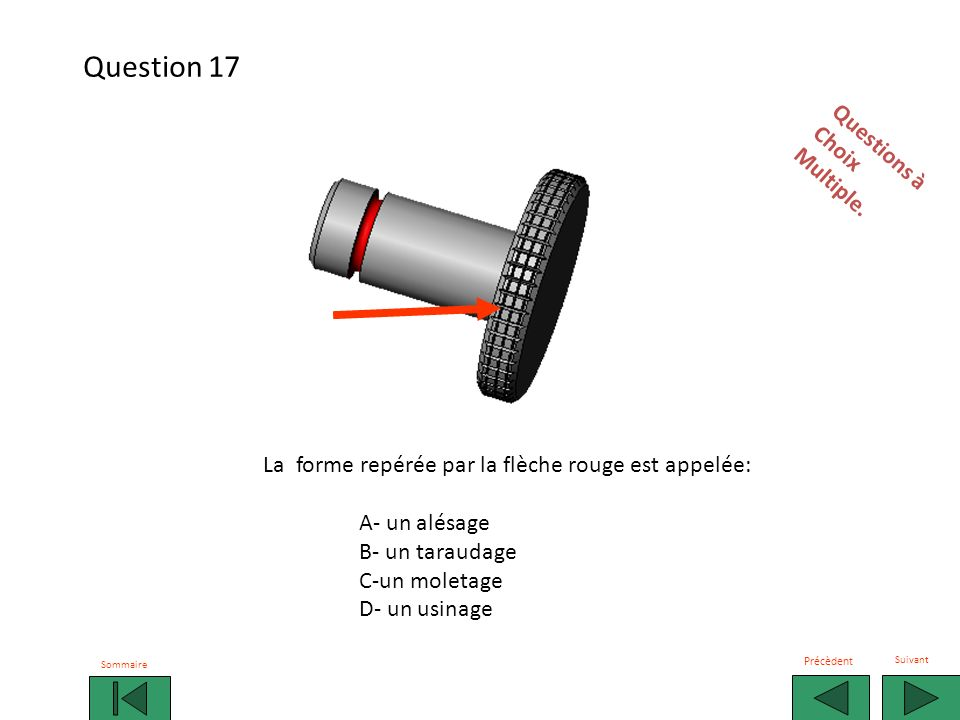 Question 17 Questions à Choix Multiple.