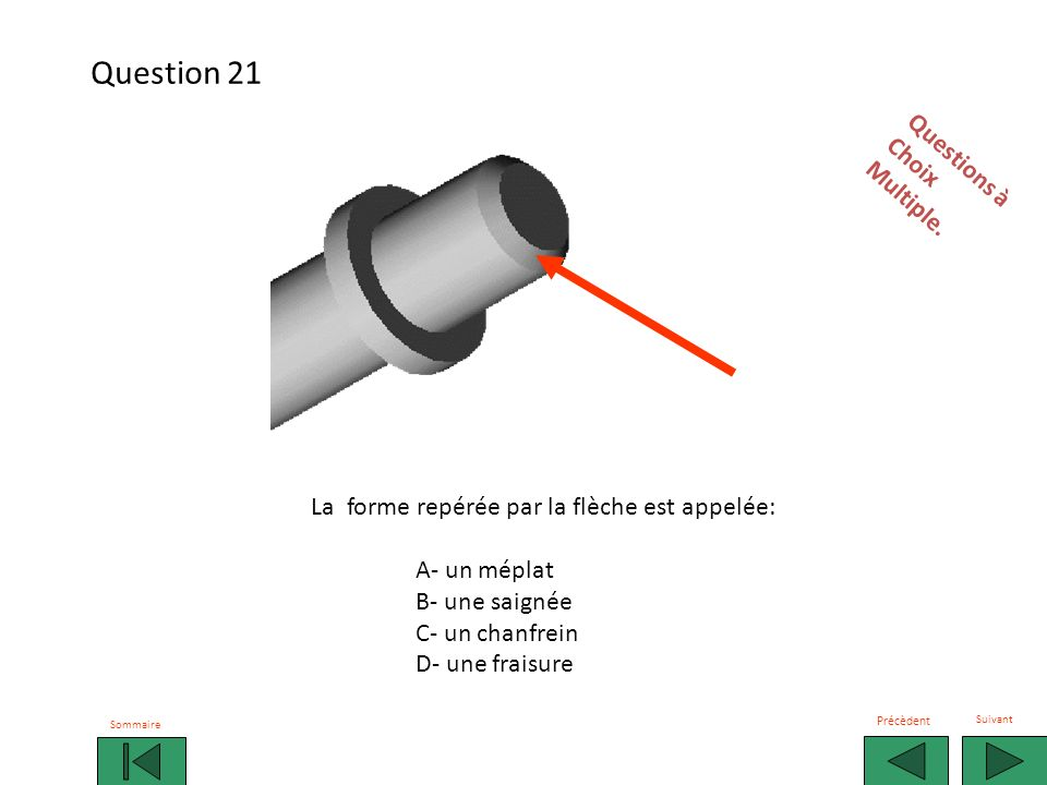Question 21 Questions à Choix Multiple.