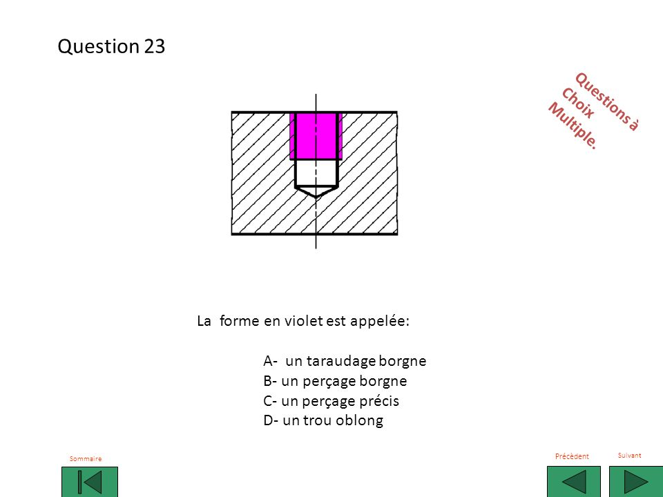 Question 23 Questions à Choix Multiple.