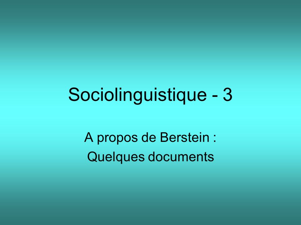 A propos de Berstein : Quelques documents