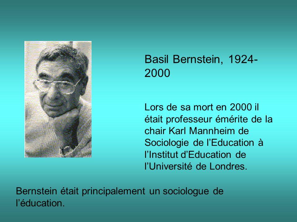 Basil Bernstein, 1924-2000