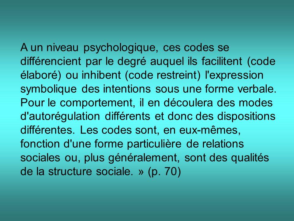 A un niveau psychologique, ces codes se différencient par le degré auquel ils facilitent (code élaboré) ou inhibent (code restreint) l expression symbolique des intentions sous une forme verbale.