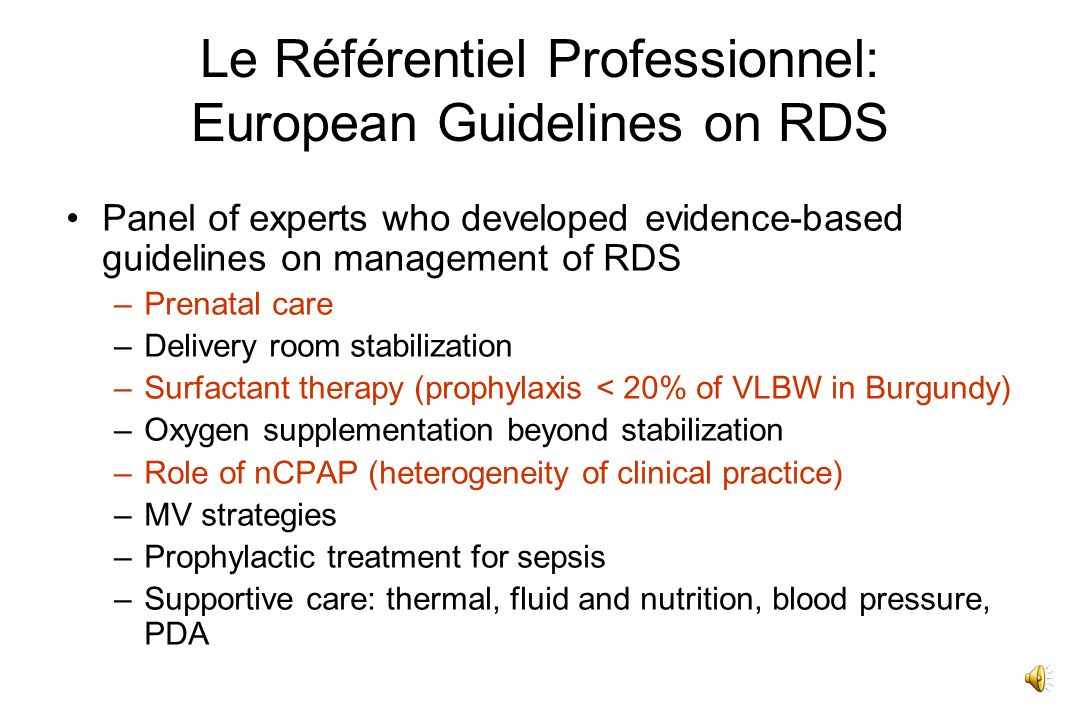 Le Référentiel Professionnel: European Guidelines on RDS