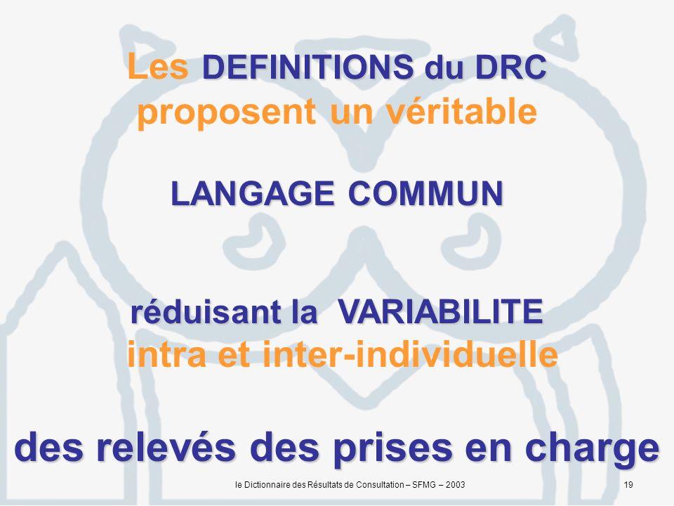 Les DEFINITIONS du DRC proposent un véritable