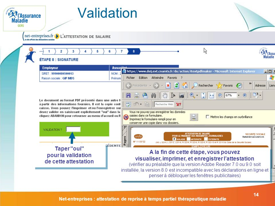 Validation Taper oui pour la validation