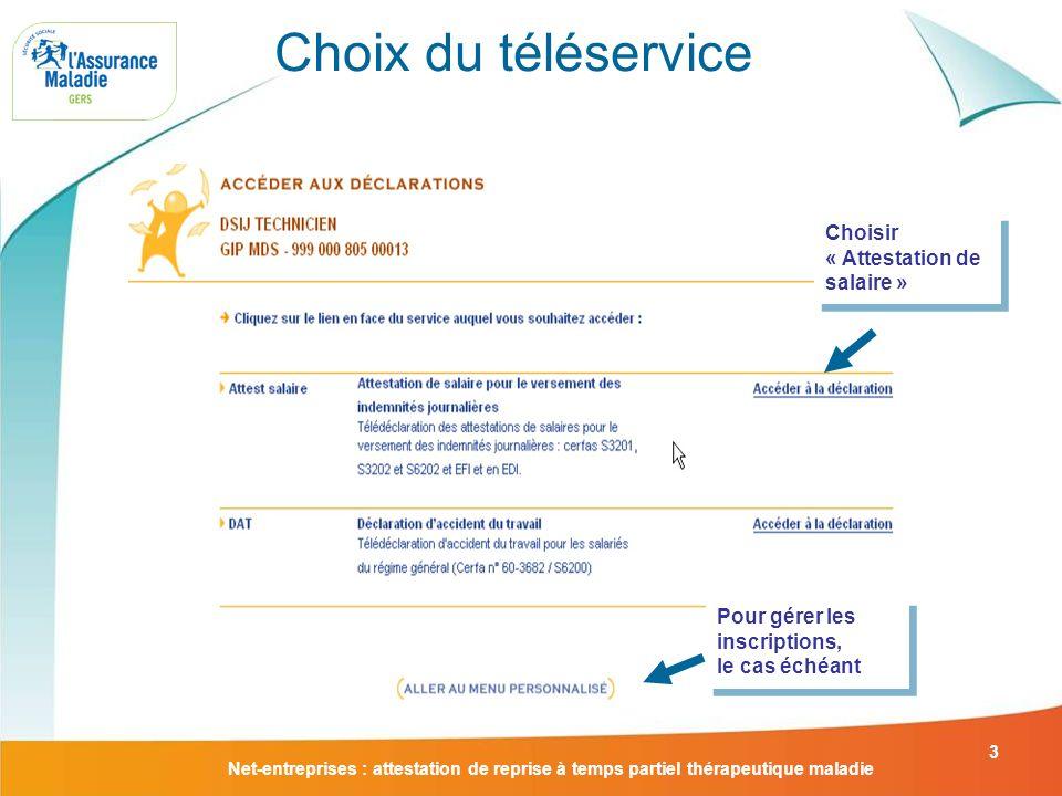 Choix du téléservice Choisir « Attestation de salaire »