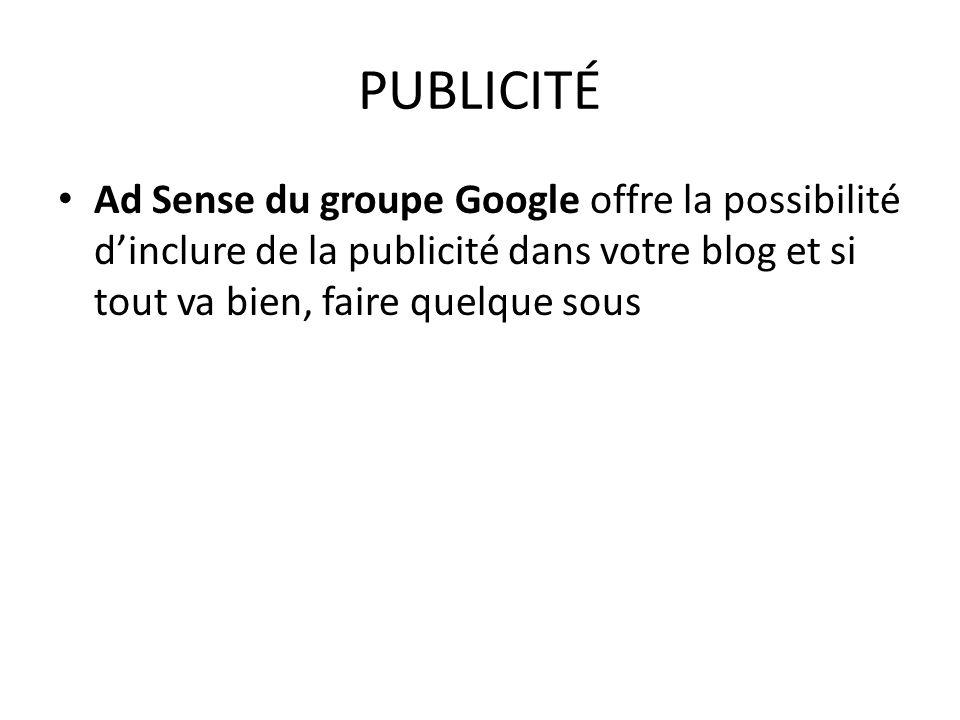 PUBLICITÉ Ad Sense du groupe Google offre la possibilité d'inclure de la publicité dans votre blog et si tout va bien, faire quelque sous.