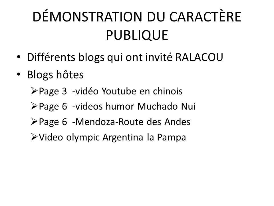 DÉMONSTRATION DU CARACTÈRE PUBLIQUE