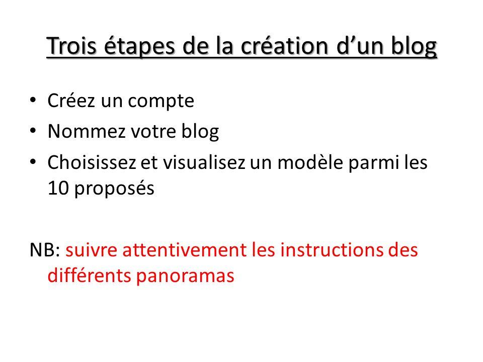 Trois étapes de la création d'un blog