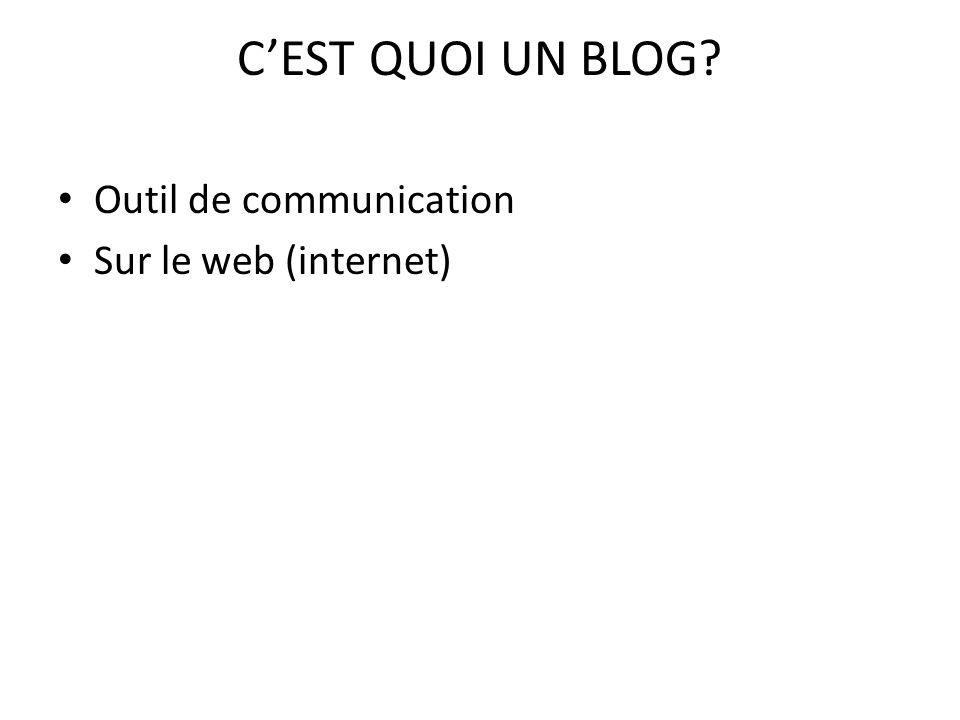 C'EST QUOI UN BLOG Outil de communication Sur le web (internet)