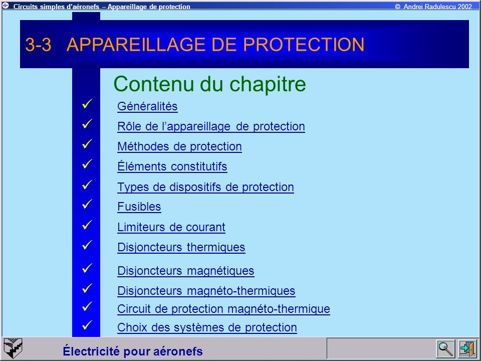 Contenu du chapitre 3-3 APPAREILLAGE DE PROTECTION Généralités