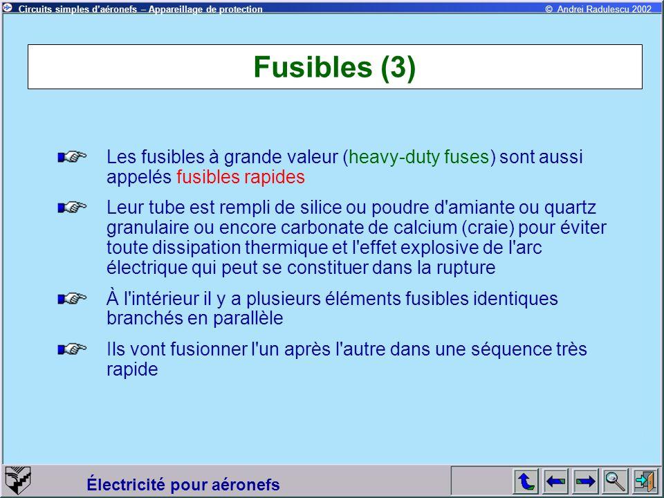 Fusibles (3) Les fusibles à grande valeur (heavy-duty fuses) sont aussi appelés fusibles rapides.