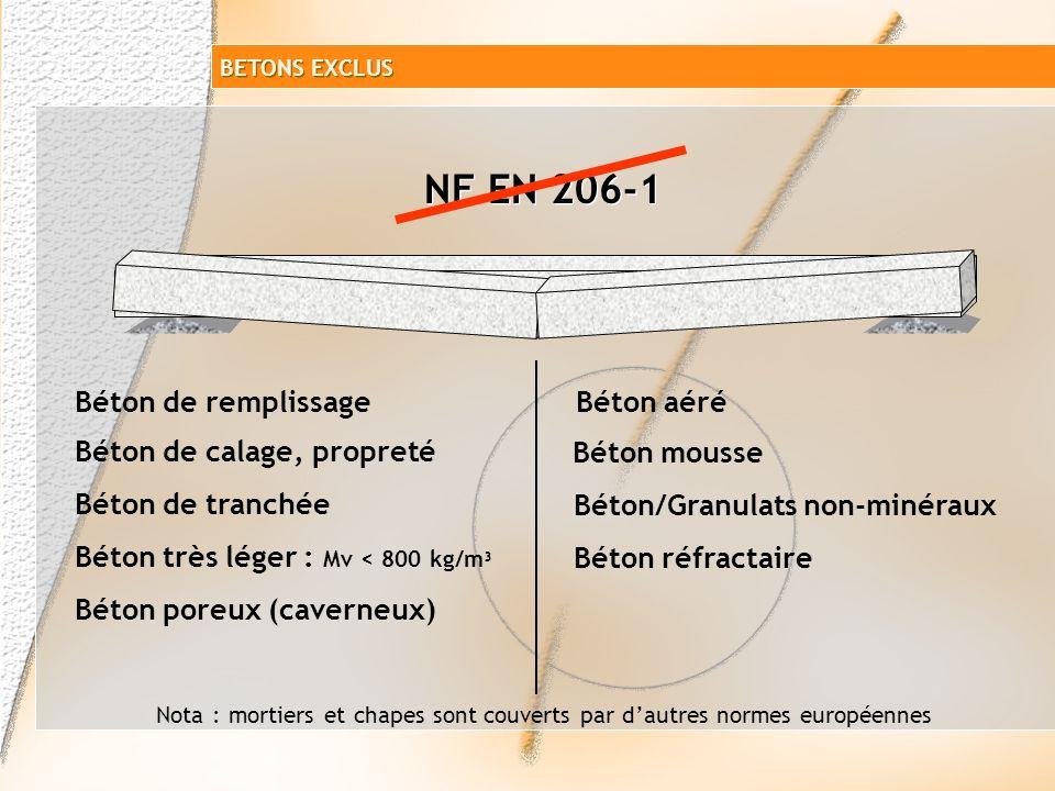 NF EN 206-1 Béton de remplissage Béton aéré Béton de calage, propreté