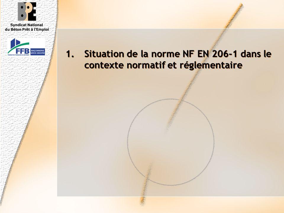 Situation de la norme NF EN 206-1 dans le contexte normatif et réglementaire