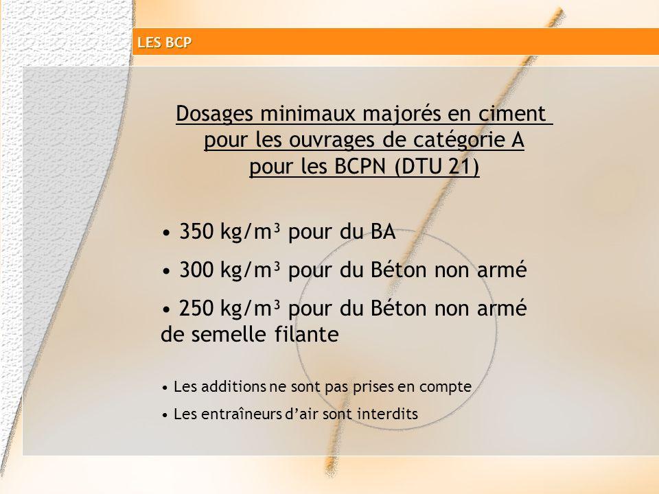 Dosages minimaux majorés en ciment pour les ouvrages de catégorie A