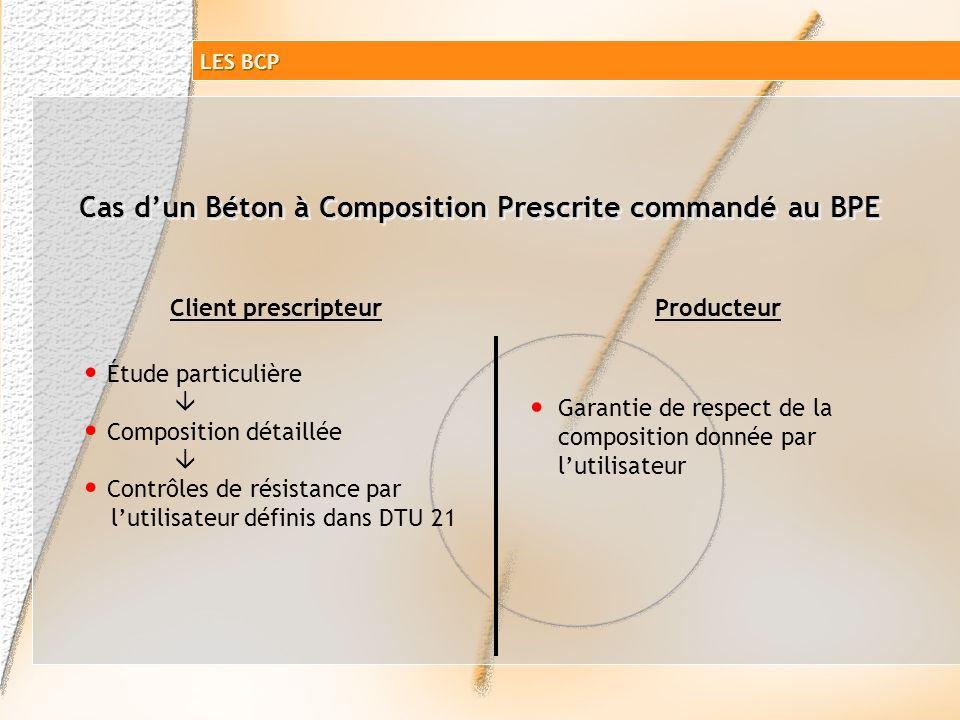 Cas d'un Béton à Composition Prescrite commandé au BPE
