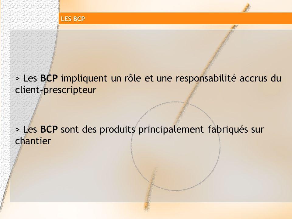 > Les BCP sont des produits principalement fabriqués sur chantier